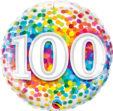 100th Birthday Confetti Design Foil Balloon